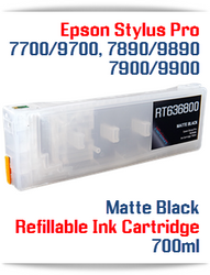 Matte Black Epson Stylus Pro 7700, 9700 Refillable Ink Cartridge