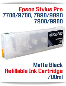 Matte Black Epson Stylus Pro 7700, 9700 Refillable Ink Cartridge