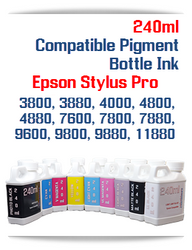 240ml Epson Stylus Pro Compatible UltraChrome Pigment Ink 3800, 3880, 4000, 4800, 4880, 7600, 7800, 7880, 9600, 9800, 9880, 11880 Printers
