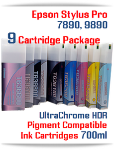9 Cartridge Package Deal Epson Stylus Pro Printers 7890, 9890