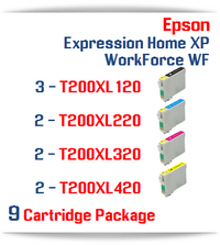 9 Cartridge Package - Cartridges Included: 3 Black, 2 Cyan, 2 Magenta, Yellow Epson Expression Home XP,  WorkForce WF Compatible Ink Cartridges