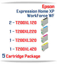5 Cartridge Packge - Included Cartridges: 2 Black, 1 Cyan, 1 Magenta, 1 Yellow T200XL Epson Expression Home XP, WorkForce WF Compatible Ink Cartridges