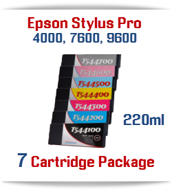 7 Cartridge Package Special - Epson Stylus Pro 4000/7600/9600 Compatible Pigment Ink Cartridge 220ml