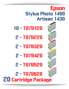 20 Cartridge Package Epson Artisan 1430, Stylus Photo 1400 Compatible Printer Ink Cartridges