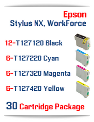 30 Cartridge Package T127 Epson WorkForce Compatible Ink Cartridges