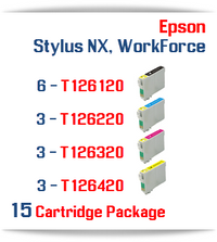 15 Cartridge Package T126 Epson WorkForce Compatible Ink Cartridges Includes: 6 Black, 3 Cyan, 3 Magenta, 3 Yellow