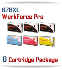 6 Cartridge Package 676XL Epson WorkForce Pro Compatible Printer Ink Cartridges