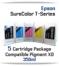 5 Cartridge Package EPSON SureColor T-Series Compatible Printer Ink Cartridges 350ml by InkPro2day