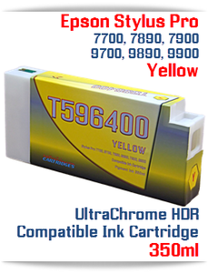 T596400 Yellow Epson Stylus Pro 7900/9900 UtraChrome HDR Pigment Compatible Ink Cartridge 350ml