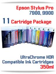 11 Cartridge Deal - Epson Stylus Pro 7900, 9900 UltraChrome HDR Pigment Ink Cartridges 350ml