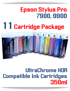 11 Cartridge Deal - Epson Stylus Pro 7900, 9900 UltraChrome HDR Pigment Ink Cartridges 350ml