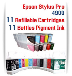 11 cartridge and ink package Refillable Epson Stylus Pro 4900 compatible ink cartridges 300ml