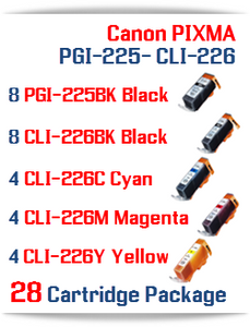28 Cartridge Package  8-PGI-225BK, 8-CLI-226BK, 4-CLI-226C Cyan, 4-CLI-226M Magenta, 4-CLI-226Y Yellow, Compatible Canon PIXMA printer ink cartridges