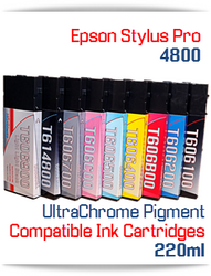 Epson Stylus Pro 4800 printer Compatible UltraChrome Pigment Ink Cartridges 220ml