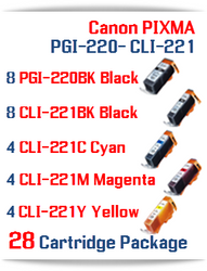 28 Cartridge Package - PGI-220 - CLI-221 Compatible Canon Pixma Ink Cartridges
