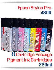 8 Cartridge Package Epson Stylus Pro 4800 Compatible printer Ink Cartridges