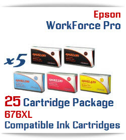 25 Cartridge Package 676XL Epson WorkForce Pro Compatible Printer Ink Cartridges