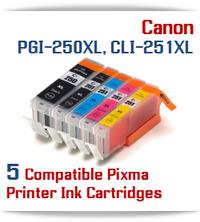 5 Cartridge Package PGI-250XL, CLI-251XL Canon Pixma Printers, 1 PGI-250XLBK Black, 1 CLI-251XLBK Black, 1 CLI-251XLC Cyan, 1 CLI-251XLM Magenta, 1 CLI-251XLY Yellow