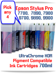 Pick 4 Cartridge Package - You pick the 4 cartridges you want for one low price T636 Epson Stylus Pro Compatible UltraChrome HDR Pigment Ink Cartridges 700ml