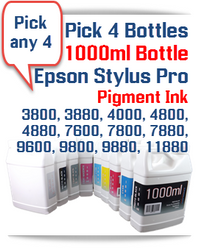 Pick 4 Color Ink Package - Pigment Ink Epson Stylus Pro 1000ml