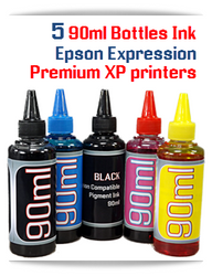 5 Color Refill Ink Package 90ml Epson Expression Premium XP printers