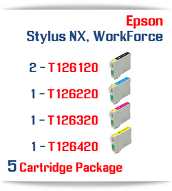 5 Cartridge Package T126 Epson WorkForce, Stylus NX Compatible Ink Cartridges Includes: 2 Black, 1 Cyan, 1 Magenta, 1 Yellow