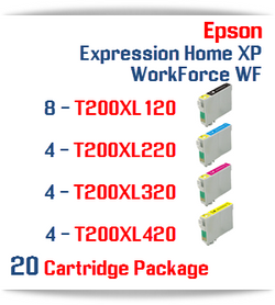 20 Cartridge Package - Cartridges Included: 8 Black T200XL120, 4 Cyan T200XL220, 4 Magenta T200XL320, 4 Yellow T200XL420 Epson Expression Home XP, WorkForce WF Compatible Ink Cartridges