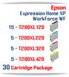 30 Cartridges - 15-T200XL120 Black, 5-T200XL220 Cyan, 5-T200XL320 Magenta, 5-T200XL420 Yellow Compatible Pigment Ink Cartridges
