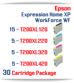 30 Cartridges - 15-T200XL120 Black, 5-T200XL220 Cyan, 5-T200XL320 Magenta, 5-T200XL420 Yellow Compatible Pigment Ink Cartridges