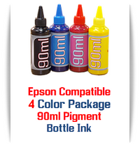 4 Color Bottle Pigment Ink Epson WorkForce WF, Stylus NX, Expression Home XP printers