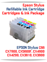 Epson Stylus Refillable Ink Cartridges  Cartridges Compatible::T060120 Black, T060220 Cyan, T060320 Magenta, T060420 Yellow