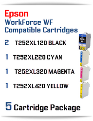5 Cartridge Package - T252XL Epson WorkForce WF compatible ink cartridges