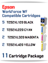 11 Cartridge Package - T252XL Epson WorkForce WF compatible ink cartridges