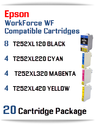 20 Cartridge Package - T252XL Epson WorkForce WF compatible ink cartridges   WorkForce WF-3620 Printer  WorkForce WF-3640 Printer  WorkForce WF-7110 Printer  WorkForce WF-7210 Printer  WorkForce  WF-7610 Printer  WorkForce WF-7620 Printer  WorkForce WF-7710 Printer  WorkForce WF-7720 Printer