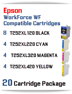 20 Cartridge Package - T252XL Epson WorkForce WF compatible ink cartridges