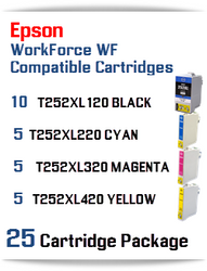 25 Cartridge Package - T252XL Epson WorkForce WF compatible ink cartridges   WorkForce WF-3620 Printer  WorkForce WF-3640 Printer  WorkForce WF-7110 Printer  WorkForce WF-7210 Printer  WorkForce  WF-7610 Printer  WorkForce WF-7620 Printer  WorkForce WF-7710 Printer  WorkForce WF-7720 Printer