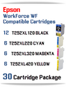 30 Cartridge Package - T252XL Epson WorkForce WF compatible ink cartridges   WorkForce WF-3620 Printer  WorkForce WF-3640 Printer  WorkForce WF-7110 Printer  WorkForce WF-7210 Printer  WorkForce  WF-7610 Printer  WorkForce WF-7620 Printer  WorkForce WF-7710 Printer  WorkForce WF-7720 Printer