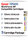 5 Ink Cartridge Package T254XL-T252XL Epson WorkForce WF printer compatible ink cartridges  WorkForce WF-7110 Printer  WorkForce WF-7210 Printer  WorkForce  WF-7610 Printer  WorkForce WF-7620 Printer  WorkForce WF-7710 Printer  WorkForce WF-7720 Printer