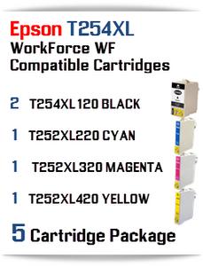5 Ink Cartridge Package T254XL-T252XL Epson WorkForce WF printer compatible ink cartridges