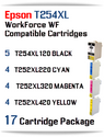 17 Ink Cartridge Package T254XL-T252XL Epson WorkForce WF printer compatible ink cartridges  WorkForce WF-7110 Printer  WorkForce WF-7210 Printer  WorkForce  WF-7610 Printer  WorkForce WF-7620 Printer  WorkForce WF-7710 Printer  WorkForce WF-7720 Printer