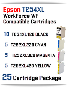 25 Ink Cartridge Package T254XL-T252XL Epson WorkForce WF printer compatible ink cartridges