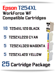 25 Ink Cartridge Package T254XL-T252XL Epson WorkForce WF printer compatible ink cartridges  WorkForce WF-7110 Printer  WorkForce WF-7210 Printer  WorkForce  WF-7610 Printer  WorkForce WF-7620 Printer  WorkForce WF-7710 Printer  WorkForce WF-7720 Printer
