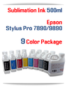 9 Color Package Sublimation Ink Epson Stylus Pro 7890, 9890 Printers 500ml each Color