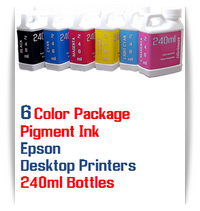 6 Color Package 240ml Bottle Pigment Ink Epson Desktop Printers