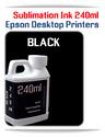 BLACK 240ml Epson Desktop printers compatible Sublimation Ink