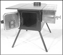 "The Three Dog DX steel stove, shown here with optional water jacket. One side shelf, as shown, is included with your stove as ""standard equipment"". You can order a second side shelf as an option when you complete your order."