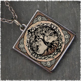 Tree of Life Brown Reversible Square Pendant