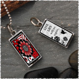 Black White Red Flower Reversible Rectangular Pendant