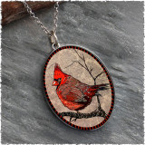 Cardinal Reversible Silver Oval Pendant