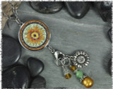 Sunflower Green Reversible Circular Charm &amp; Bead Pendant